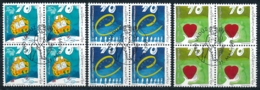 Zumstein 1142-1144 / Michel 1200-1202 Viererblockserie Mit ET-Zentrumstempel - Used Stamps