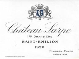"""ÉTIQUETTE DE VIN """"CHÂTEAU SARPE 1926"""" - Bordeaux"""