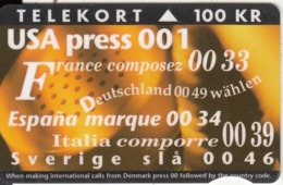 DENMARK - New International Codes, Tirage 50000, 05/94, Used - Dänemark