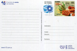 Lote PEP1355, Colombia, 2019, Entero Postal, Stationery, Upaep, Mail Day, Traditional Meals - Colombia
