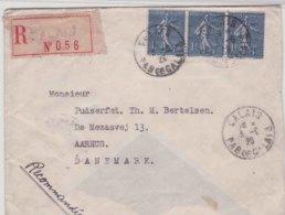 Lettre France 1920 Calais 3 * 1 F Semeuse Lignee Pour Aarhus Danemark - Postmark Collection (Covers)