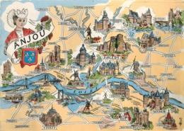 CARTE GEOGRAPHIQUE ANJOU - Carte Geografiche