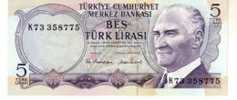 Turkey P.185 5 Lirasi 1976 Unc - Turkije
