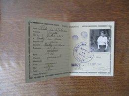 CARTE D'IDENTITE VAILLY SUR AISNE DELIVREE LE 25 SEPT. 1940 MAIRIE DE BRAIZE (ALLIER) - Altri