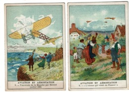 2 Chromos Aviation Et Aérostation - Elixir Antiglaireux GUILLIE - Pharmacie SEGERS 16 Bd A. Max Bruxelles -  2 Scans - Trade Cards