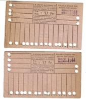 Tramways Bruxellois - 2 Cartes 20 Voyages - Octobre 1944 - Décembre 1944 - 2 Scans - Tramways