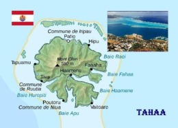 French Polynesia Tahaa Map New Postcard Französisch Polynesien Landkarte AK - Französisch-Polynesien