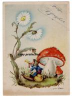 Zwerg Auf Schnecke, Fliegenpilz, Nach Regina Steib, Künstler Postkarte - Autres Illustrateurs