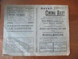 BAVAY CINEMA REXY 17,18 Et  22 AVRIL 1937 QUAND UNE FEMME S'EN MÊLE ET RIGOLBOCHE PREMIER GRAND FILM PARLANT DE MISTINGU - Programme