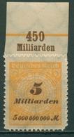 Deutsches Reich 1923 Korbdeckel Platten-Oberrand 327 BP OR C Postfrisch - Deutschland