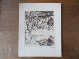 ANDRE SZEKELY DE DOBA 1926  GRAVURE SUR UN BATEAU 16cm/13cm - Prints & Engravings