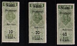 "S314.-. SIAM / THAILAND - 1907 - SC#: 106-108 - MNG - ""SPECIMEN"" - KING CHULALONGKORN - SCV: US$ ??.00 ++ - Thailand"