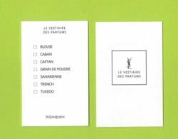 Cartes Parfumées Carte  LE VESTIAIRE DES PARFUMS De YVES SAINT LAURENT RECTO VERSO - Cartes Parfumées