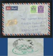 United Arab Emirates UAE Registered Used Cover Abu Dhabi 1980 Back Side Postmark See Scan - Abu Dhabi