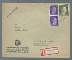 POSTAL HISTORY NICE COVER GERMANY DEUTSCH REICH REGISTERED MAIL KOLMAR BELEGE BRIEF HITLER FURER - Covers & Documents