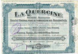 Titre Ancien - La Quercine - Société Générale Pour La Fabrication Des Agglomérés - Société Anonyme - Titre De 1927 - Industrie