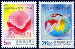 1996 Merchant Day Stamps Bar Code Stock Globe Map Statistics Chart - History