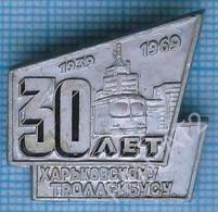 USSR / Badge / Soviet Union / UKRAINE Kharkov Trolleybus 30 Years Architecture. Electric Transport 1969 - Transportation