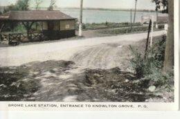 Brome Lake Station, Entrance To Knowlton Grove, Quebec R P P C - Quebec