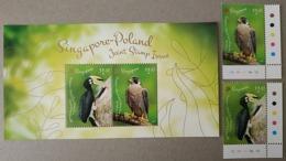 Singapore 2019 Joint Issue With Poland Birds Set + MS Hornbill Falcon - Gemeinschaftsausgaben