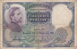 Espagne - Billet De 50 Pesetas - Eduardo Rosales - 25 Avril 1931 - [ 1] …-1931 : Eerste Biljeten (Banco De España)