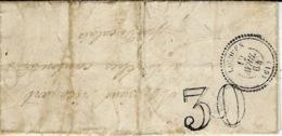 1864 - Lettre De LICQUES ( Pas De Calais ) Cad T22  + Taxe 30 Dt - écrite De Rebergues - Marcophilie (Lettres)