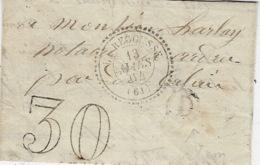 1862 - Lettre De LA RECOUSSE ( Pas De Calais ) Cad T22  + Taxe 30 Dt   +  D Boite Rurale De Bonningues - Marcophilie (Lettres)