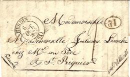 1835- Lettre D' HESDIN ( Pas De Calais ) Cad T12  Taxe 2 D Pour St Riquier - 1801-1848: Précurseurs XIX