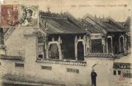 TONKIN Haiphong Pagode Chinoise  + Beaux Timbres 2c +1cIndochine RV - Vietnam