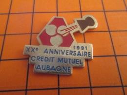 1219 Pin's Pins : BEAU ET RARE : Thème BANQUES  / CREDIT MUTUEL AUBAGNE ANNIVERSAIRE CHAMPAGNE 1991 - Banche
