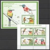 TG1278 2010 TOGO TOGOLAISE FAUNA BIRDS LES OISEAUX GUEPIERS 1KB+1BL MNH - Vogels