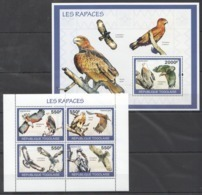 TG1285 2010 TOGO TOGOLAISE FAUNA BIRDS OF PREY LES RAPACES 1KB+1BL MNH - Águilas & Aves De Presa