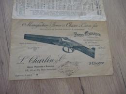Pub Publicité Fusil Charlin Manufacture Armes De Chasse à Canon Fixe Saint Etienne - Advertising