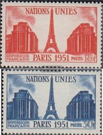 Francia 929-930 (completa Edizione) MNH 1951 ONU - Incontro - Francia