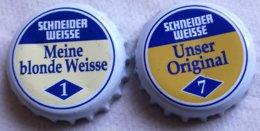 Lote 2 Chapas Kronkorken Caps Tappi Cerveza Schneider Weisse. Alemania - Cerveza