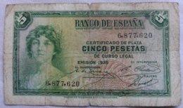 Billete 5 Pesetas. 1935. República Española. Sin Serie. - 5 Pesetas