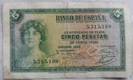 Billete 5 Pesetas. 1935. República Española. Sin Serie. - [ 2] 1931-1936 : Republiek