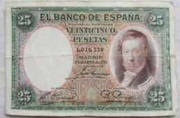 Billete 25 Pesetas. 1931. República Española. España. Sin Serie. Vicente López. - [ 2] 1931-1936 : Republiek