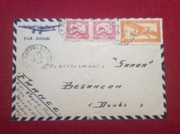 Enveloppe Envoyée Par Avion D Indochine En 1949 Poste Aerienne à Besançon Cochinchine Guerre Militaria - Poste Aérienne