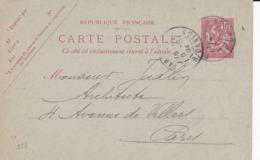 Carte Mouchon Retouché 10 C Rose D1 Oblitérée Repiquage Balleyguier - Postales  Transplantadas (antes 1995)