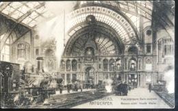 (1514) Antwerpen - Binnen-zicht Hoofd Statie- Stoomtreinen - 1919 - Antwerpen