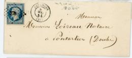 DOUBS LST 1954 BESANCON  PC SUR N°10 25C PRESIDENCE N°10 DFT + T15 - Storia Postale
