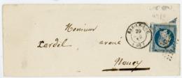 MEUSE ENV 1853 BAR LE DUC PC SUR N°10 25C PRESIDENCE N°10 DFT + T15 - Storia Postale