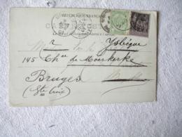 1901 Affranchissement Mixte Belgique France Sage Lettre Pour Bruxelles Reroutee Sur Bruges - Poststempel (Briefe)