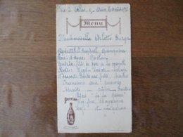 CELLES SUR AISNE FÊTE LE 30 AOUT 1936 MENU PERRIER LE CHAMPAGNE DES EAUX DE TABLE - Menu