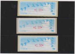 France 3 Vignettes Distributeur Type C LISA  N°YT 208 - 1.00 1.10 1.50 - 1990 Type «Oiseaux De Jubert»