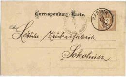 Autriche Austria Entier Karwin Karvina Pologne Poland 1887 Enveloppe Lettre Cover Ganzsache Stationary - 1850-1918 Imperium