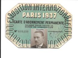 KB587 - CARTE D'ABONNEMENT PERMANENTE - EXPOSITION INTERNATIONALE DE PARIS 1937 - Programs