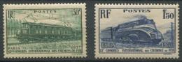 France 1937 - N° 339 & 340 - 13éme Congrès International Des Chemins De Fer à Paris - Neuf * - Unclassified