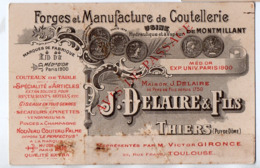 Thiers (63 Puy De Dôme) Carte Professionnelle J DELAIRE  Coutellerie  (PPP20937) - Pubblicitari